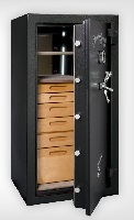 jewelery-safe with drawers and open shelves